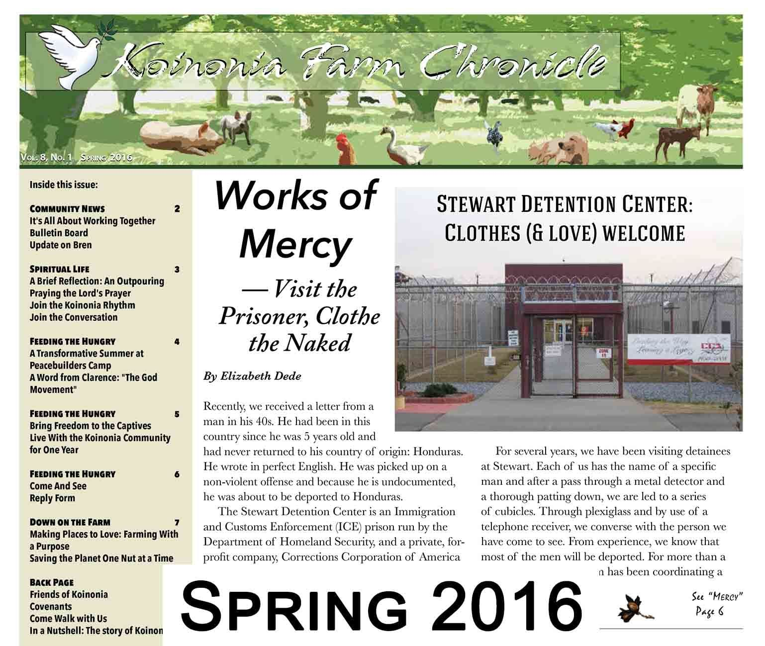 Koinonia Farm Chronicle Spring 2016