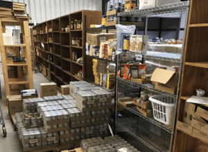 Food Pantry Shelves filled with food/canned goods