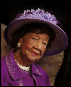 Dorothy Height in a purple hat