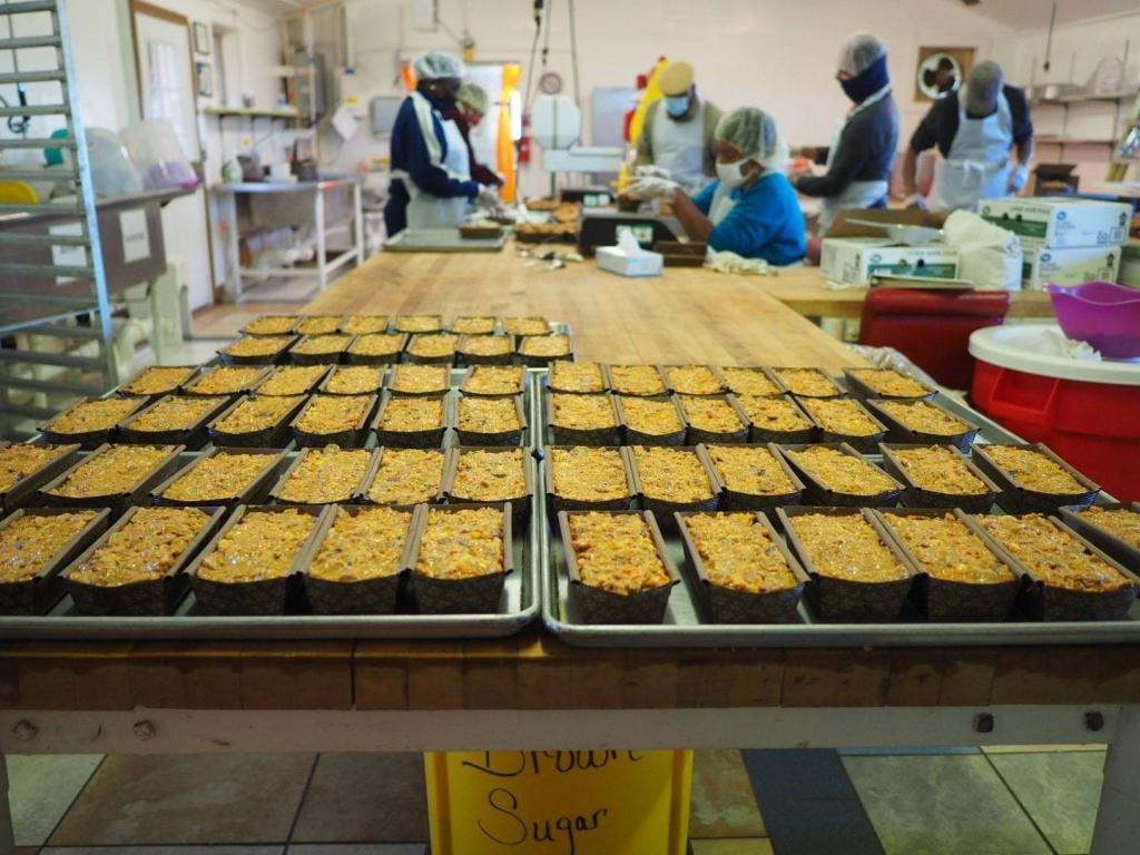 Honey Nut Peach Cakes in Koinonia's Bakery
