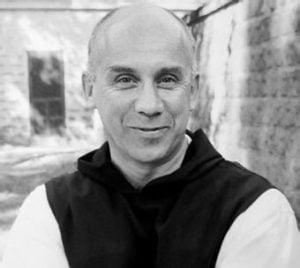 black and white photo of Thomas Merton